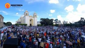 Protesters gather on October 17 in the center of San Salvador to denounce abuses of the Bukele administration