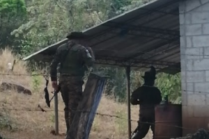 Chalatenango, military booth at the border